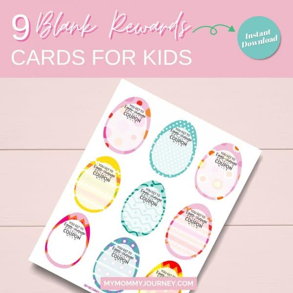 9 Blank reward cards for kids