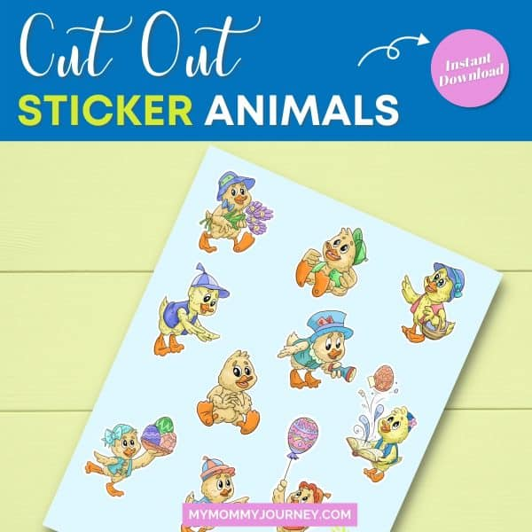 Sheep and Duck Easter Stickers cut out sticker animals