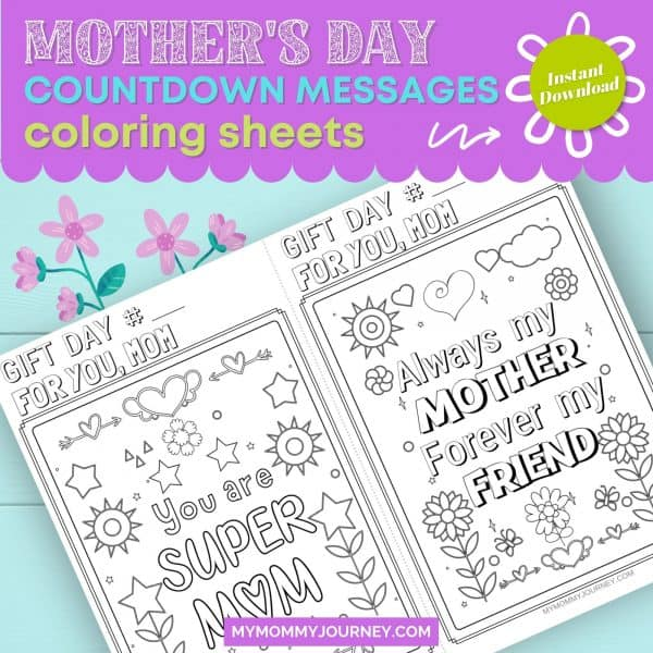 Mother's Day Countdown Messages Coloring Sheets