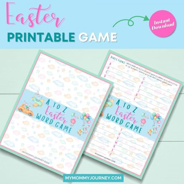 A to Z Easter Word Game Easter printable game