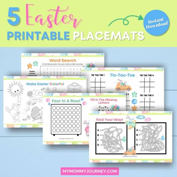 5 Easter printable placemats