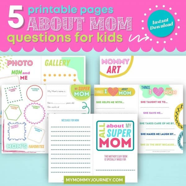 5 printable pages about mom questions for kids
