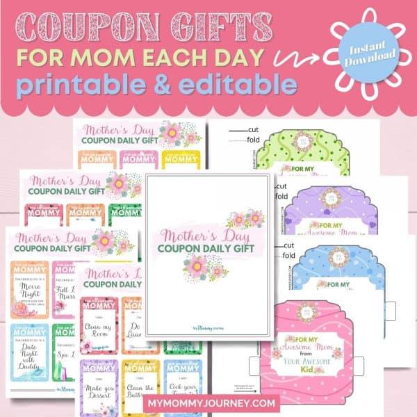 Coupon Gifts for Mom Each Day Printable and Editable