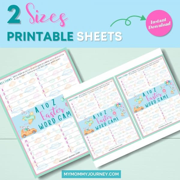 A to Z Easter Word Game 2 sizes printable sheets