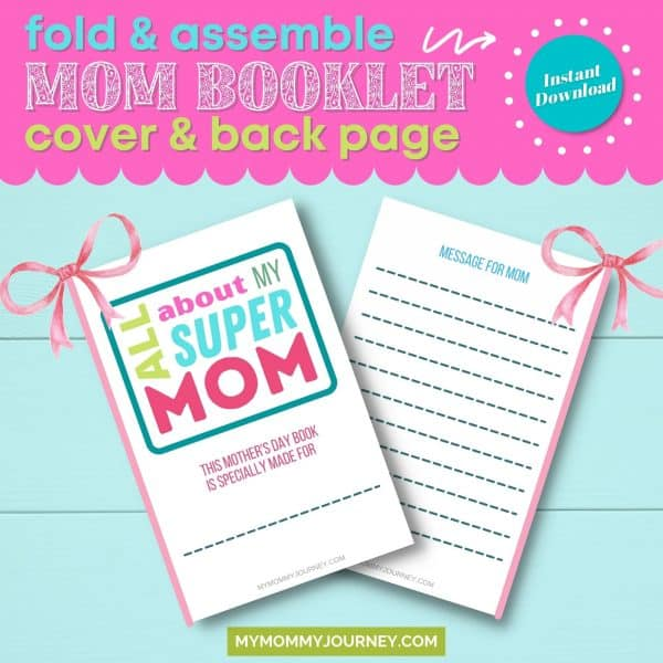 fold and assemble mom booklet showing cover and back page