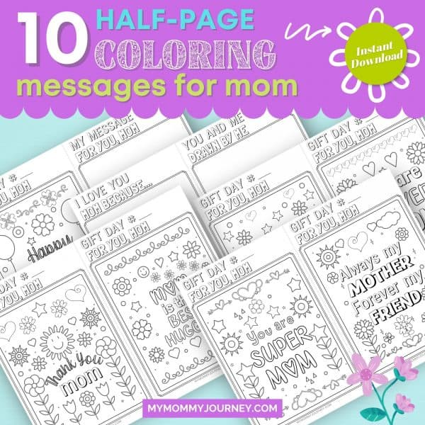 10 Half-page Coloring Messages for Mom