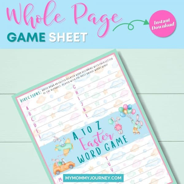 A to Z Easter Word Game whole page game sheet