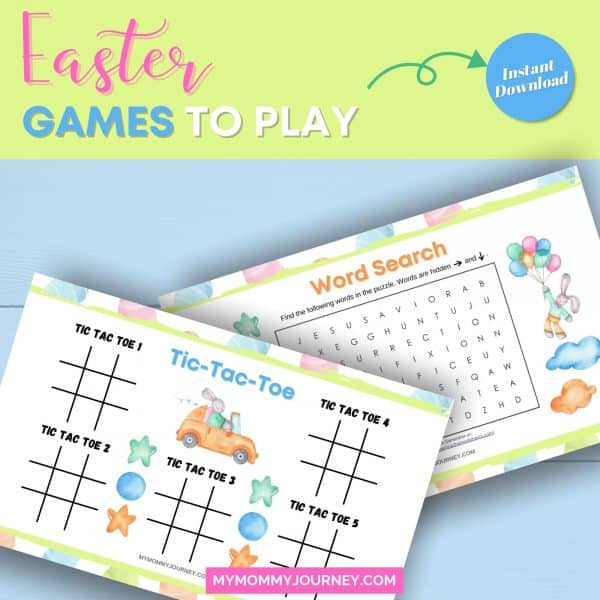 Easter games to play Easter tic tac toe and Easter word search