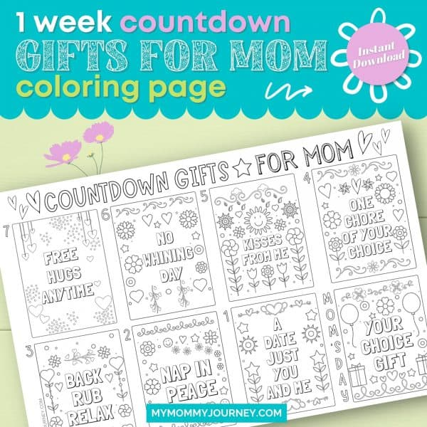 1 Week Countdown Gifts for Mom Coloring Page