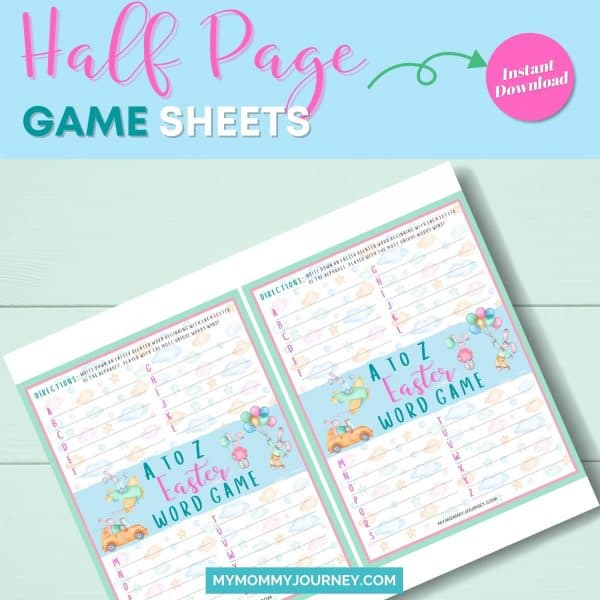 A to Z Easter Word Game half-page game sheet