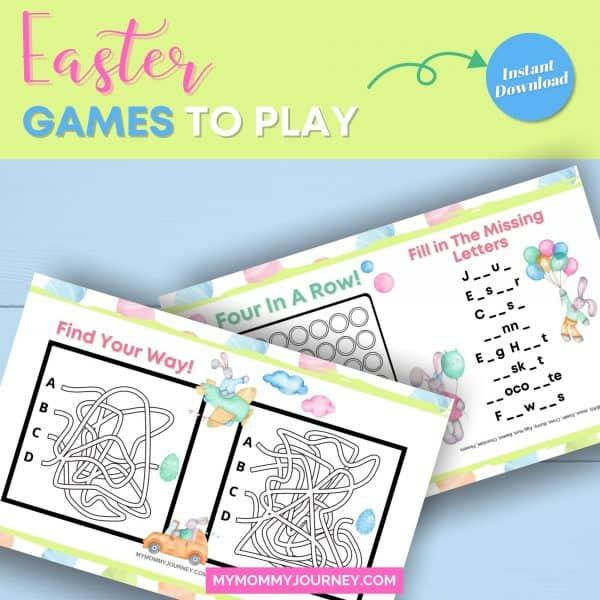 Easter games to play Easter maze and Easter 4 in a row and Easter find the missing letter
