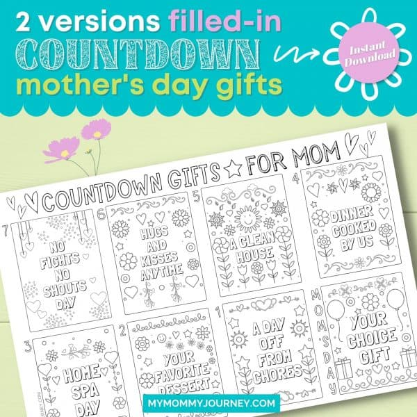 2 Versions Filled-in Countdown Mother's Day Gifts