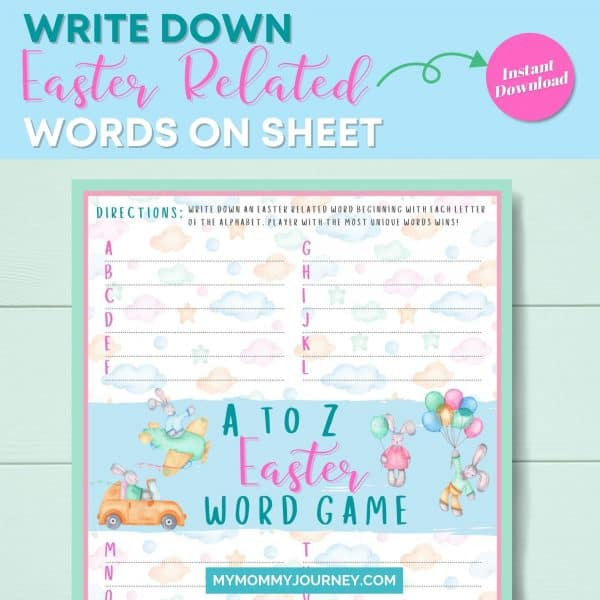 A to Z Easter Word Game write down Easter-related words on sheet