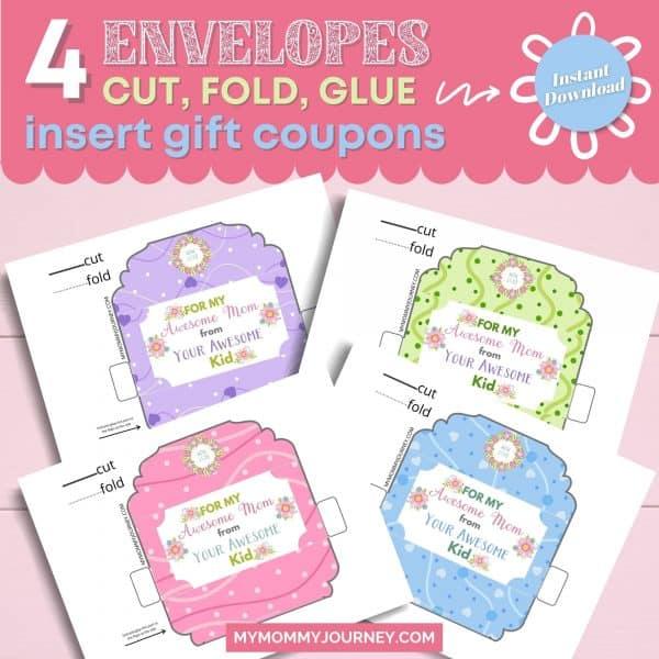 4 Envelopes Cut, Fold, Glue, Insert Gift Coupons