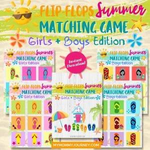 Flip-Flops Summer Matching Game Girls & Boys Edition
