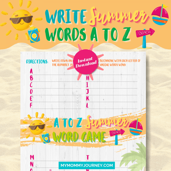 Write Summer Words A To Z