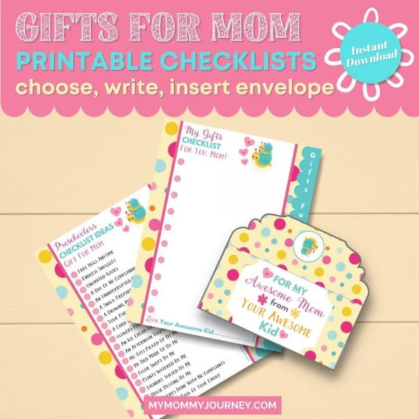 Gifts for Mom Printable Checklists choose, write, insert envelope