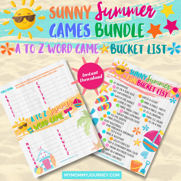 Summer A To Z Word Game and Sunny Summer Fun Bucket List