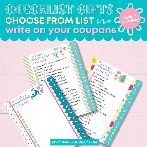 Checklist Gifts choose from list write on your coupons