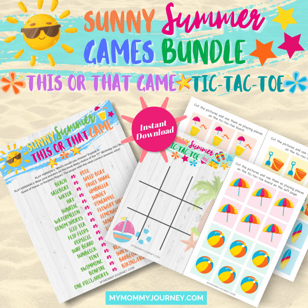 Sunny Summer This Or That Game and Sunny Summer Tic-Tac-Toe