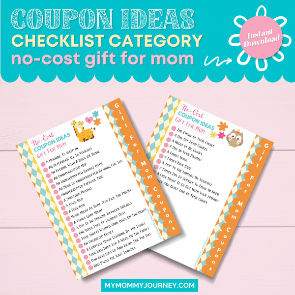 Coupon Ideas Checklist Category No Cost Gift for Mom