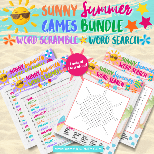 Sunny Summer Word Scramble and Sunny Summer Word Search