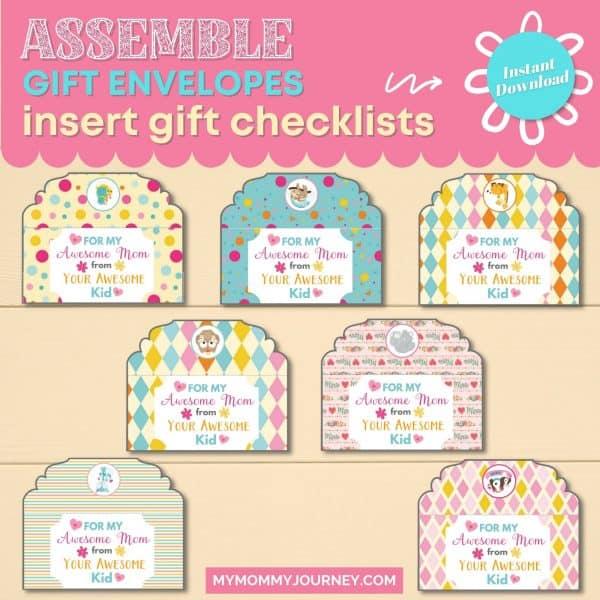 Assemble Gift Envelopes, insert gift checklists