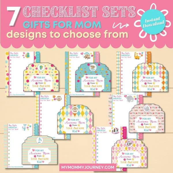 7 Checklist Sets Gifts for Mom designs to choose from