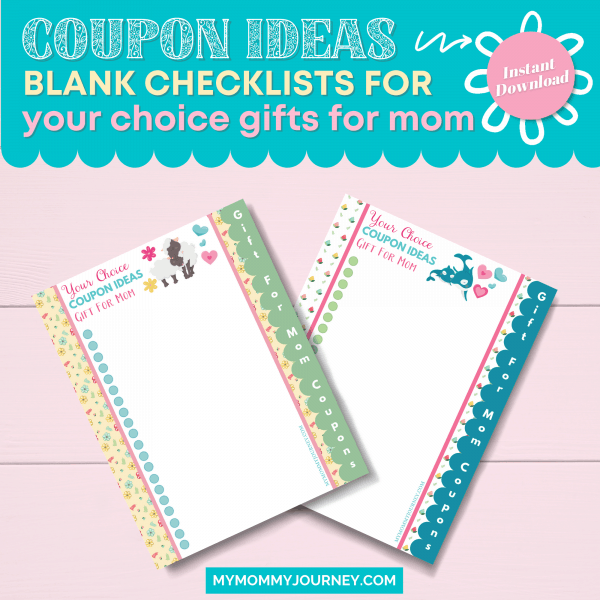 Coupon Ideas Blank Checklists for Your Choice Gifts for Mom