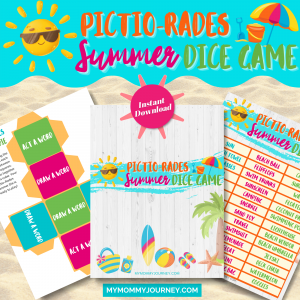 Pictionary Charades Summer Dice Game printable