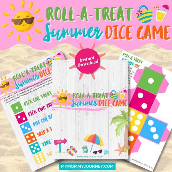Roll A Treat Summer Dice Game printable summer game