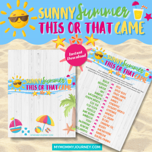 Sunny Summer This Or That Game printable