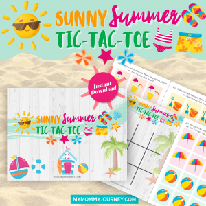 Sunny Summer Tic Tac Toe printable game