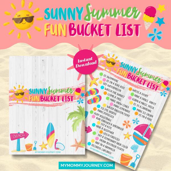 Sunny Summer Fun Bucket List printables