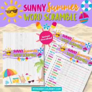 Sunny Summer Word Scramble printable