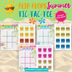 Flip-Flops Summer Tic-Tac-Toe summer game printable