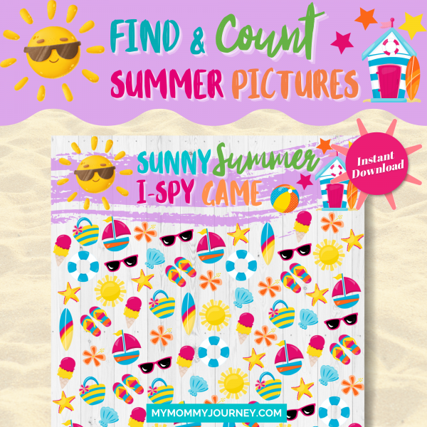 Sunny Summer I Spy Game find and count summer pictures