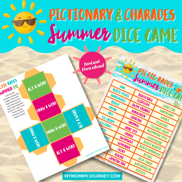 Pictionary and Charades Summer Dice Game