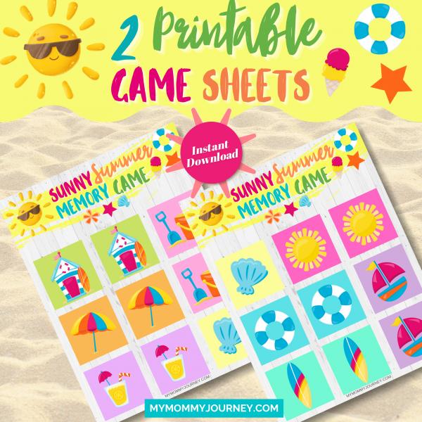Sunny Summer Memory Game 2 printable game sheets