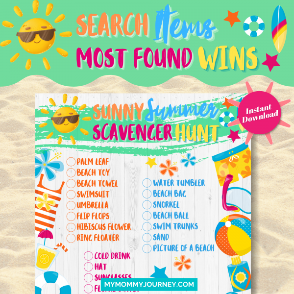 Sunny Summer Scavenger Hunt search items, most found wins