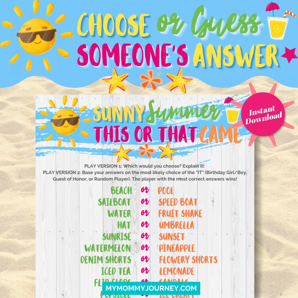 Sunny Summer This Or That Game choose or guess someone's answer