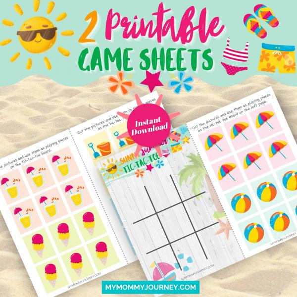 Sunny Summer Tic Tac Toe 2 printable game sheets