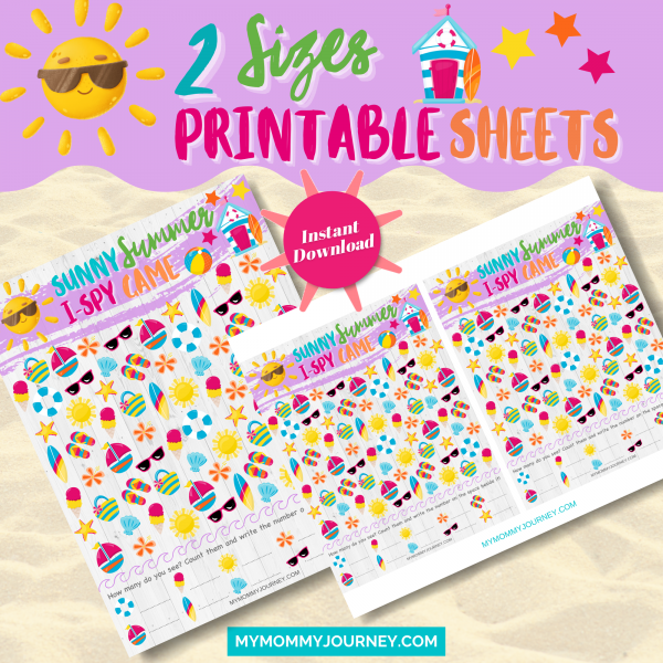 Sunny Summer I Spy Game 2 sizes printable sheets