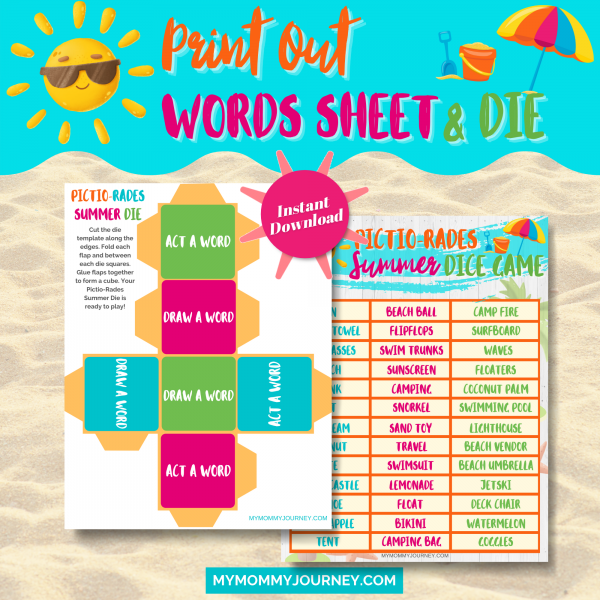 Print out words sheet and die