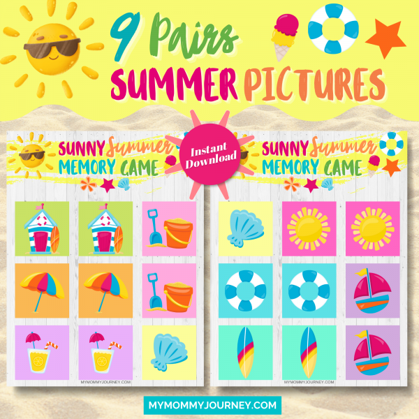 Sunny Summer Memory Game 9 pairs summer pictures