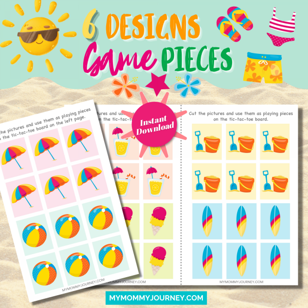 Sunny Summer Tic Tac Toe 6 designs game pieces