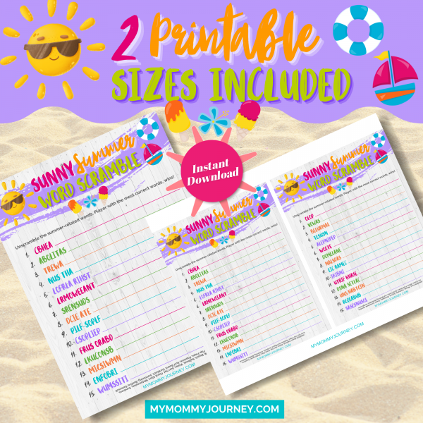 Sunny Summer Word Scramble 2 printable sizes included