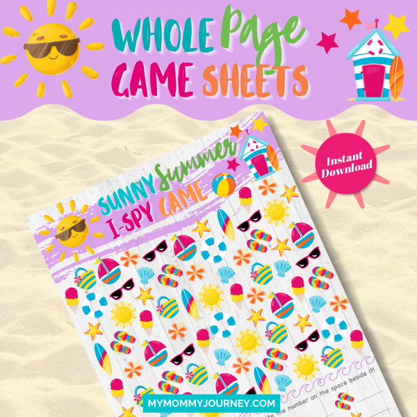 Sunny Summer I Spy Game whole page game sheet