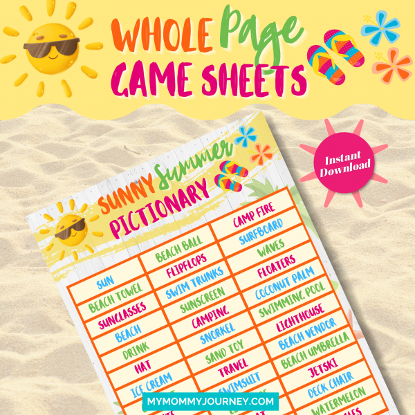 Sunny Summer Pictionary whole page game sheet