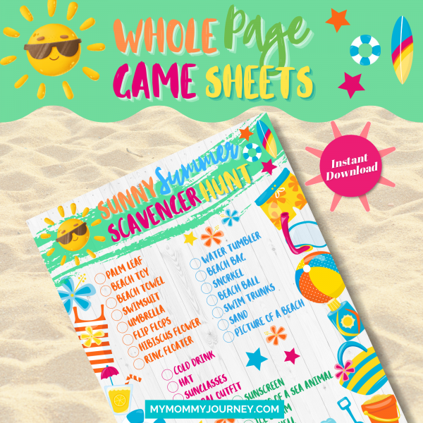 Sunny Summer Scavenger Hunt whole-page game sheet
